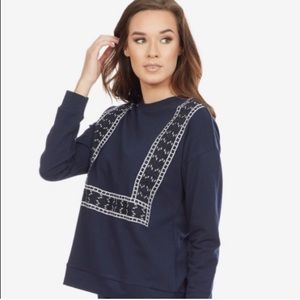 Lumière Navy Embroidered Pullover
